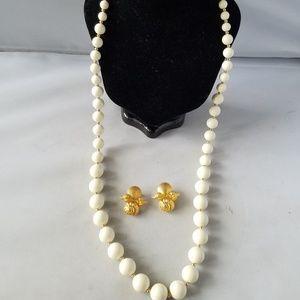 Monet Vintage Signed Necklace MDM Signed Earrings